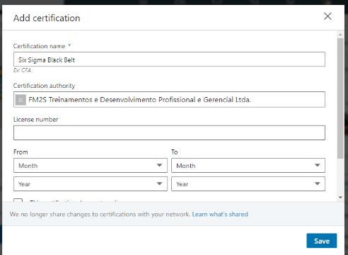 Como colocar a certificação FM2S no Linkedin